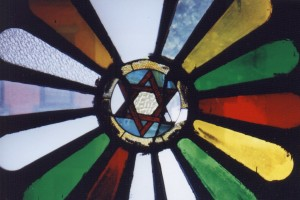 Stained glass at the Stanton Street Shul